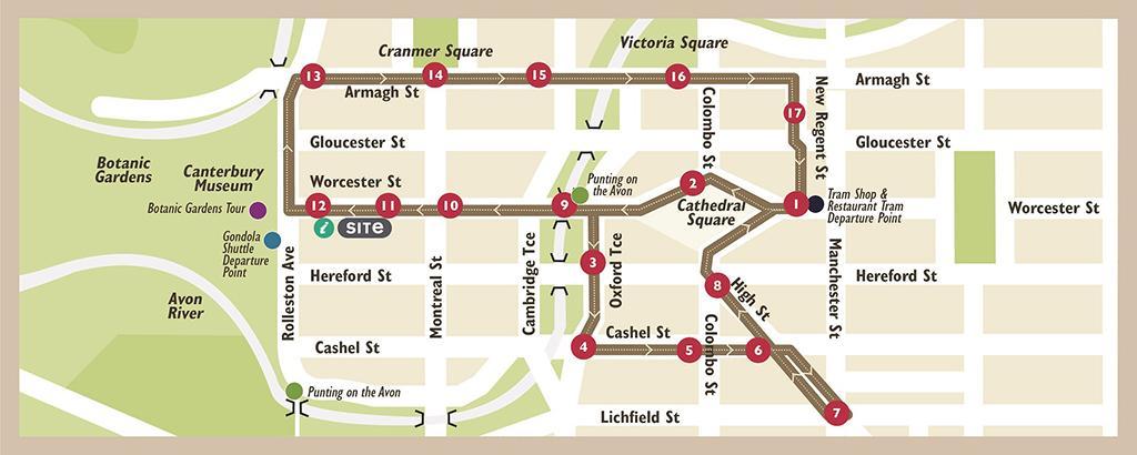 #5 Christchurch Tram (基督城復古電車):行車路線及地圖