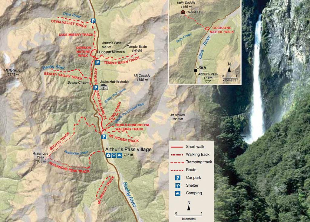 Arthur's Pass Trail Map (亞瑟隘口國家公園內的步道地圖)