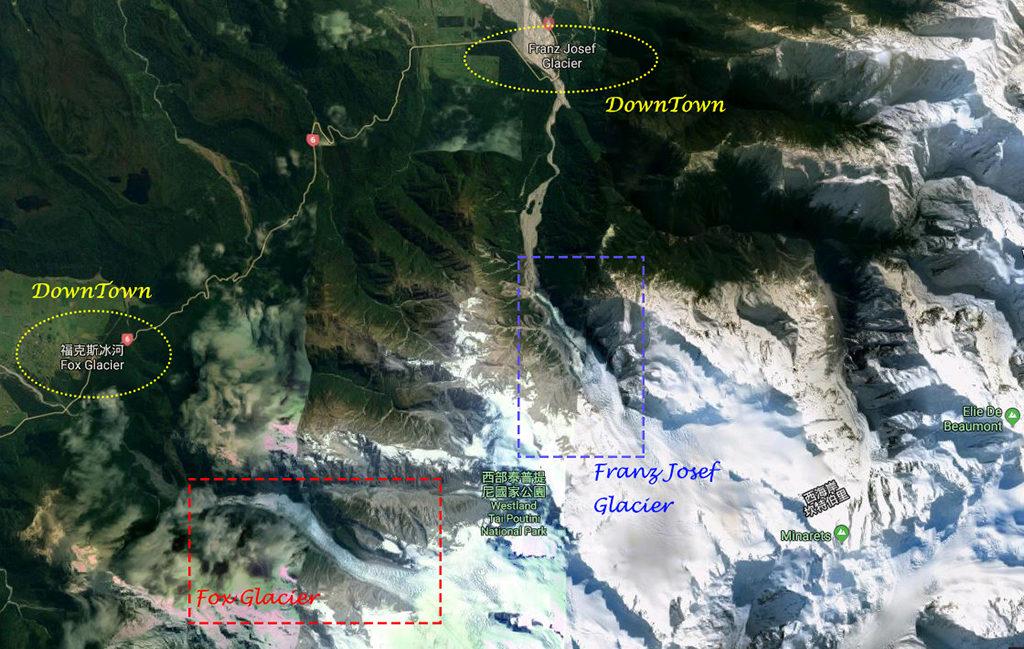 兩大冰河的相對位置,以及相對城鎮的遠近。