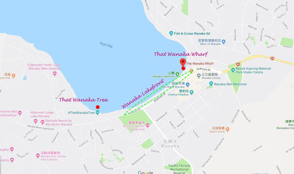 That Wanaka Tree & Wanaka Lakefront & Wanaka Wharf 相對位置圖