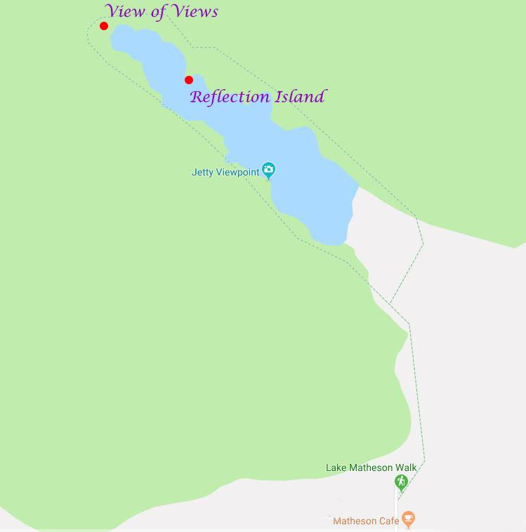 Lake Matheson 三大觀景台的相對位置