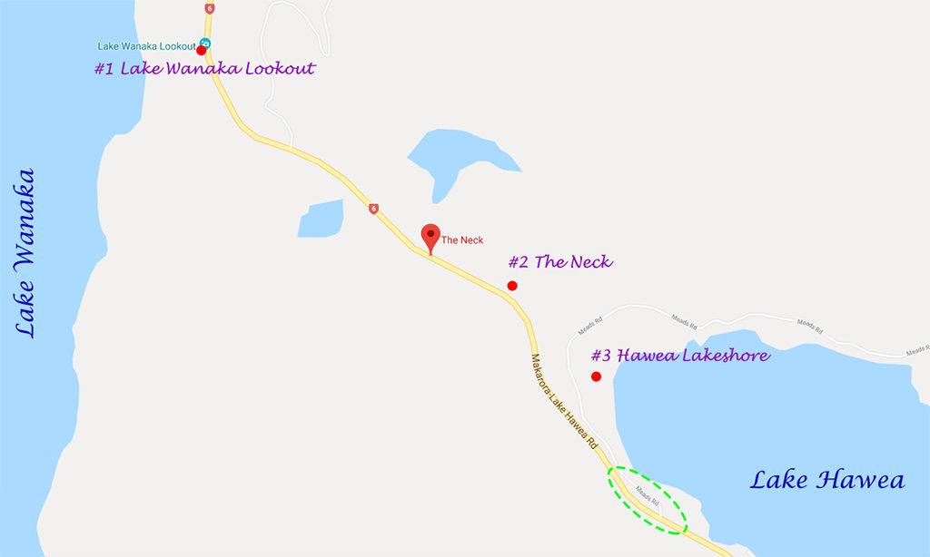 The Neck (內克半島) 地圖:三大觀景台相對位置