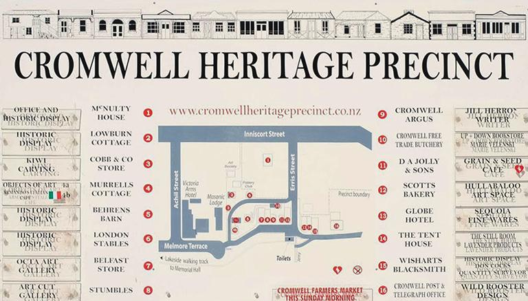 Map of Cromwell Heritage Precinct (文化遺產步行區地圖)