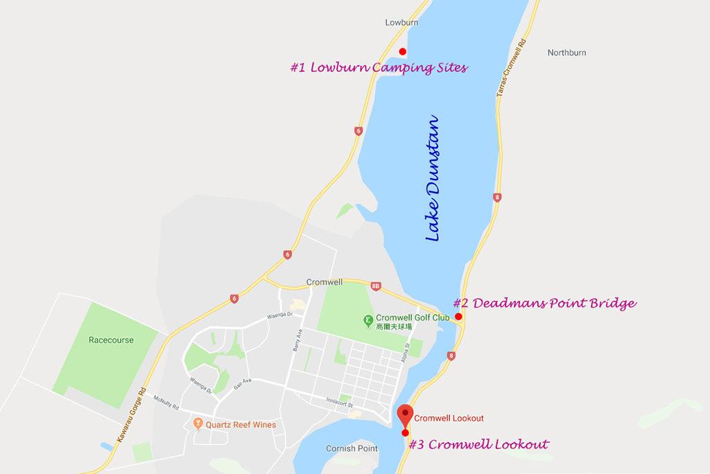 Lake Dunstan 鄧斯坦湖附近景點地圖