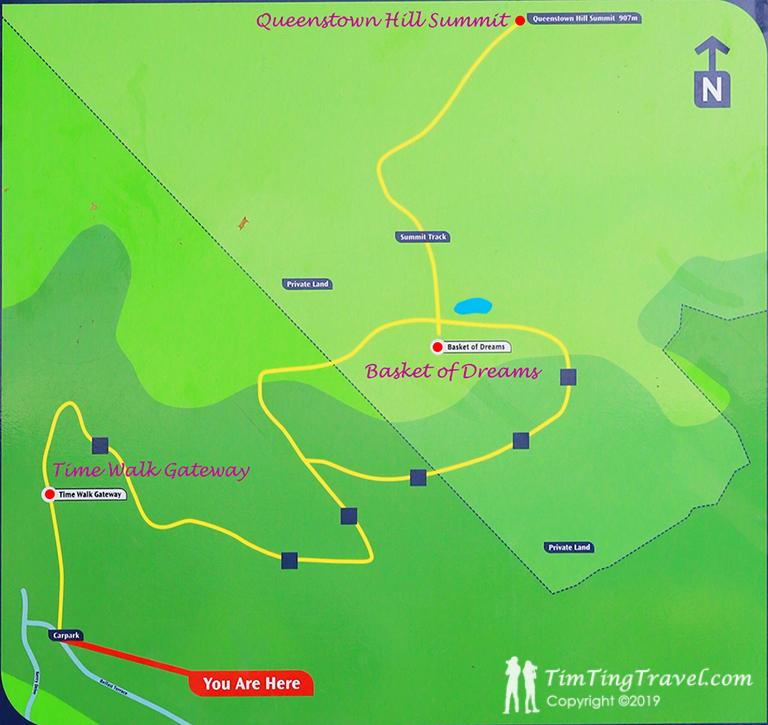Map of Queenstown Hill Track (皇后鎮山丘步道地圖)
