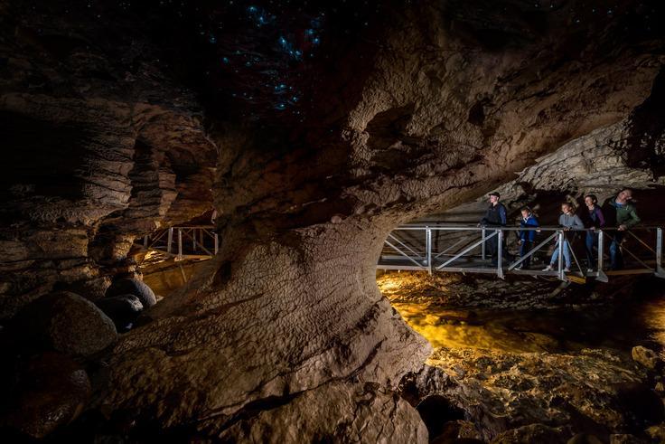 Te Anua Glowworm Cave (蒂阿瑙螢火蟲洞體驗):螢火蟲洞內部實景