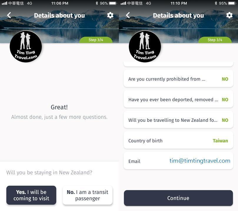 紐西蘭電子簽證 - App 申請教學 Step6