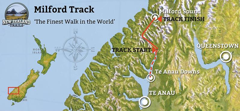 Map of Milford Track (米爾福德步道地圖)