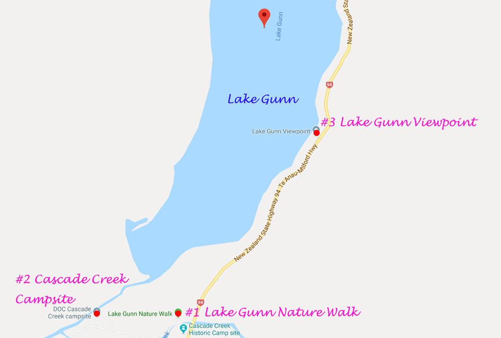 Lake Gunn (岡恩湖) 各景點的相對位置