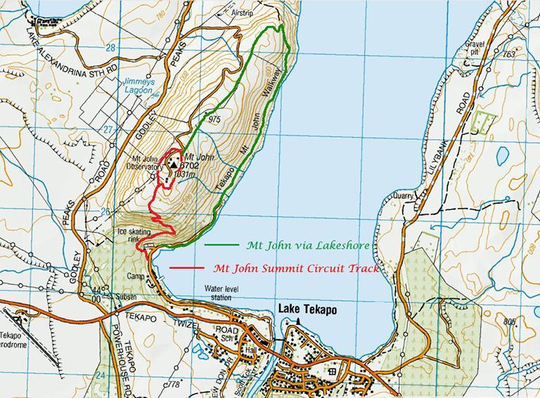 Mt John Walkway (約翰山步道) 地圖