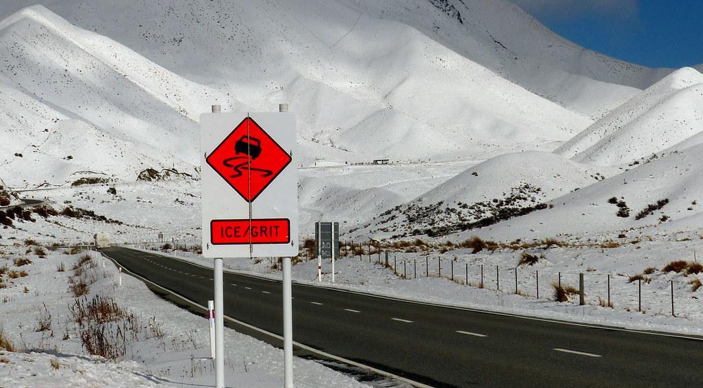 冬天的 Lindis Pass