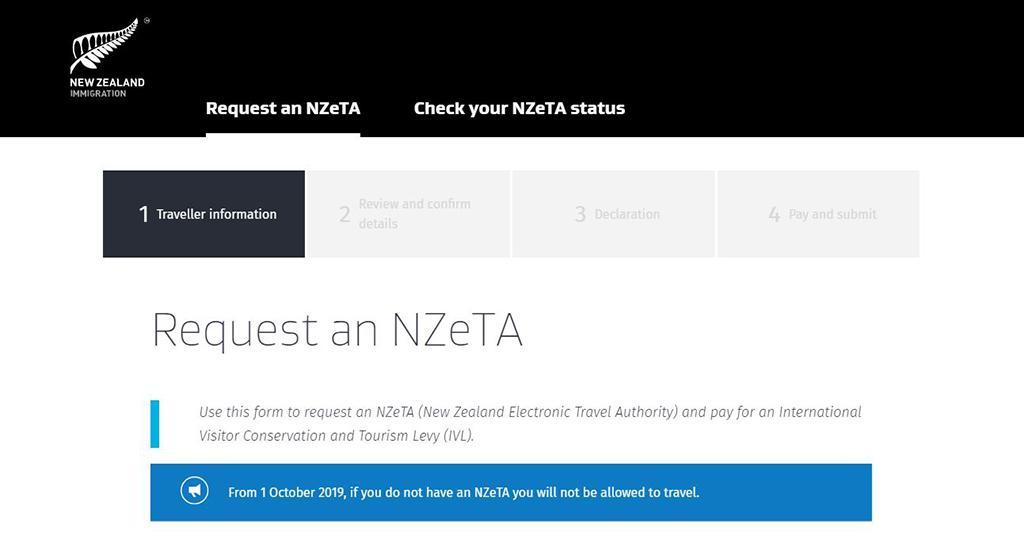 紐西蘭電子簽證 - 網頁版申請教學 Step1