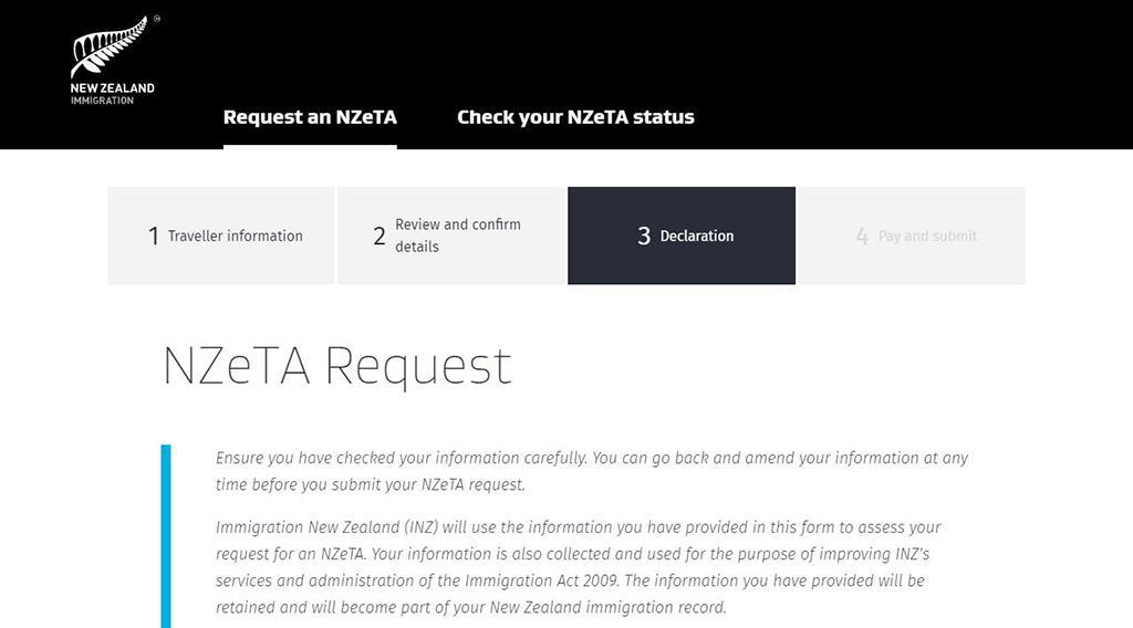 紐西蘭電子簽證 - 網頁版申請教學 Step6-1