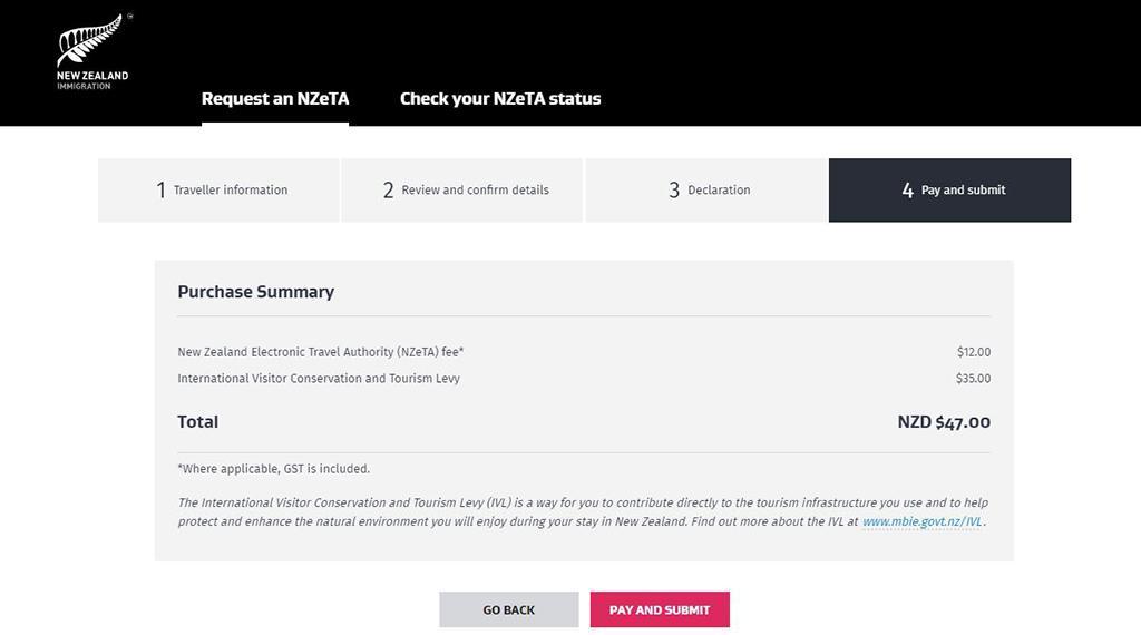 紐西蘭電子簽證 - 網頁版申請教學 Step7
