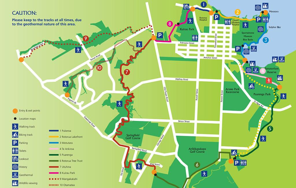 Rotorua Walkways Map (羅托魯瓦步道地圖總覽)