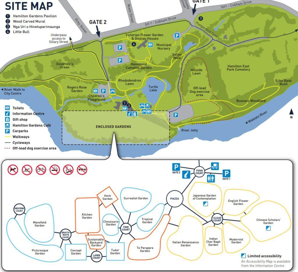 Map of Hamilton Gardens (漢米爾頓花園 - 園區地圖)