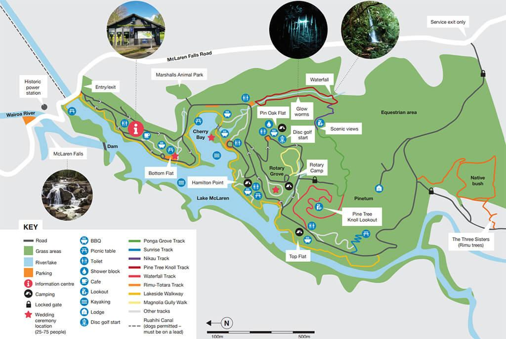 Map of McLaren Falls Park (邁凱倫瀑布公園的地圖)