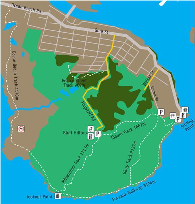 Bluff Hill 的步道地圖