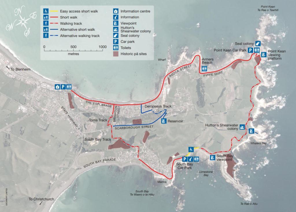 Map of Kaikōura Peninsula Walkway (凱庫拉半島步道地圖)