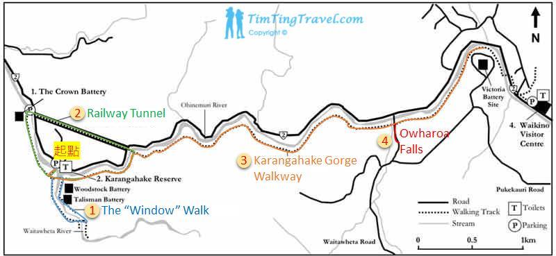Karangahake Gorge (卡蘭加哈克峽谷) 的步道地圖